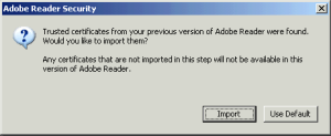 Adobe Reader Security Prompt