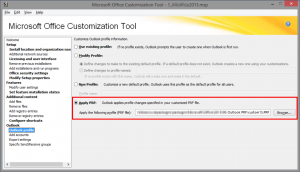 Configure the Office Customization Tool to use our custom .PRF file