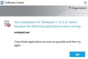New Failed Notification - Application Running