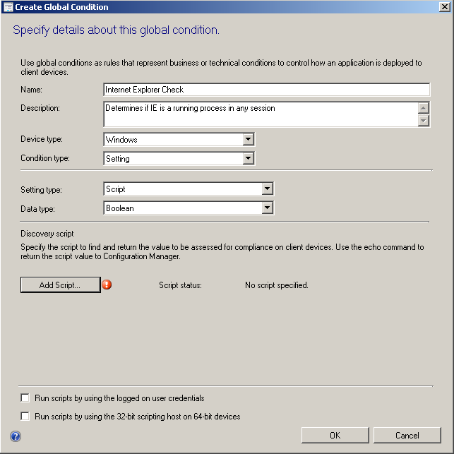 Creating Global Conditions in Configuration Manager 2012
