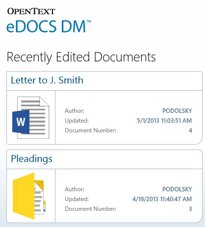 eDOCS DM App Home Screen