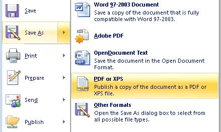 Native Word 2007 Save As PDF